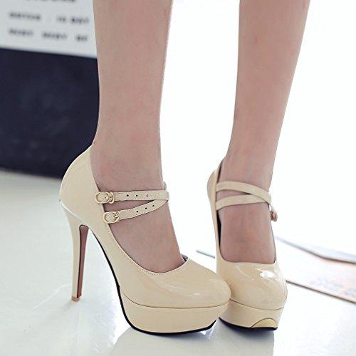 YE Damen High Heels Ankle Strap Lackleder Pumps mit Schnalle Plateau Stiletto Elegant Party Schuhe Beige