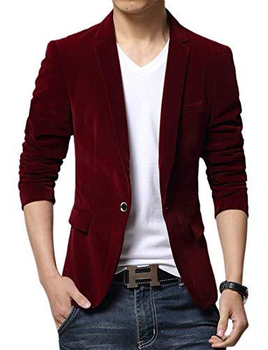 Adelina Herren Sakko Business Anzug Einfarbig Anzugjacken Freizeit Velour Jungen Herrenmode Slim Fit Blazer Männer Casual Samt Jacke (Color : Rot 1, Size : 48) (Für Samt-blazer Jungen)