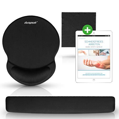Durapeak hochwertiges Mauspad mit Gelkissen - ergonomische Handballenauflage für Tastatur und Maus zur Entlastung und Schmerzlinderung bei Sehnenscheidenentzündung