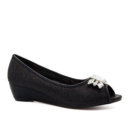 London Footwear ,  Damen Peep Toes , schwarz - schwarz - Größe: 41