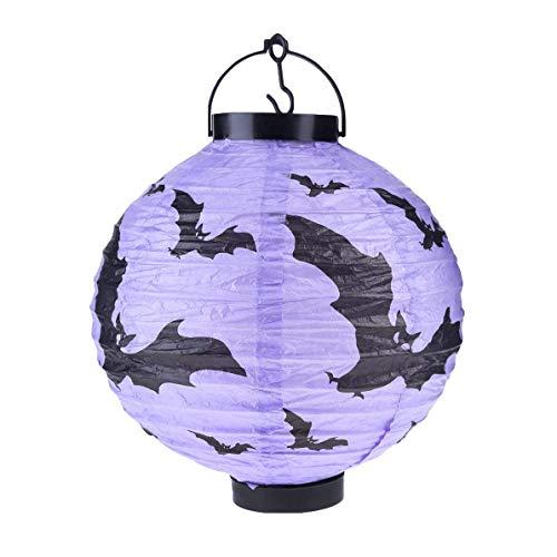 zhengao Bunt Halloween-Dekoration Papier Laternen mit LED Licht Geist für Halloween-Party für Wohndeko - Lila Fledermaus Modell (Lichter Lila Halloween Fledermaus)