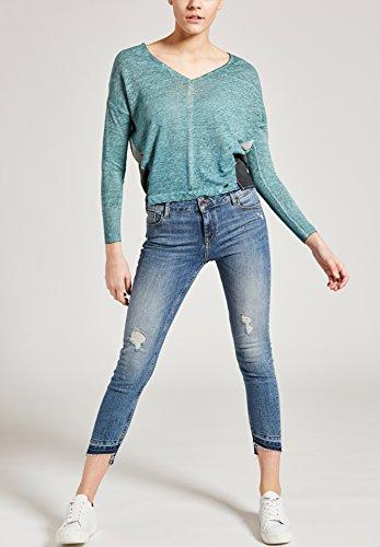 KHUJO Damen Strickpullover Bluse Tunika Shirt IMPRO Oversize Feinstrick Pulli grün (315 EVERGRE)