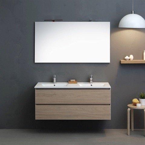 Mobile bagno doppio lavabo con 2 cassetti, specchio e luce led 120 cm olmo leone