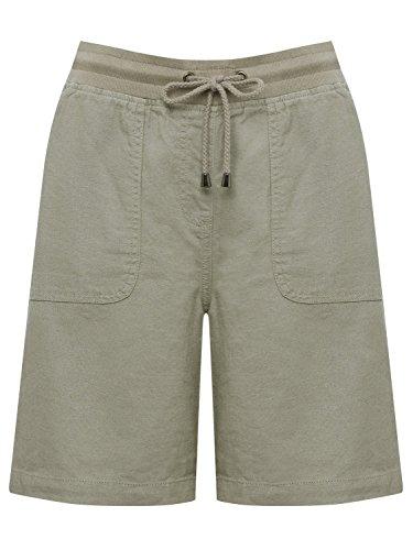 M&Co Ladies Plain Basic Elasticated Tie Waist Linen Blend Shorts