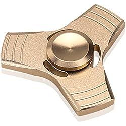 VANKER Tri Fidget Spinner de Dedo de Aluminio Dart EDC mano juguete para Aliviar el estrés, Ansiedad, TDAH Adultos y Niños -- Oro