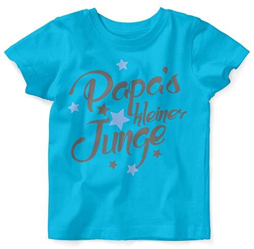 Mikalino Baby/Kinder T-Shirt mit Spruch für Jungen Mädchen Unisex Kurzarm Papas Kleiner Junge | handbedruckt in Deutschland | Handmade with Love, Farbe:Atoll, Grösse:80/86 (Halloween-kostüme Mama Sohn Und Beste)