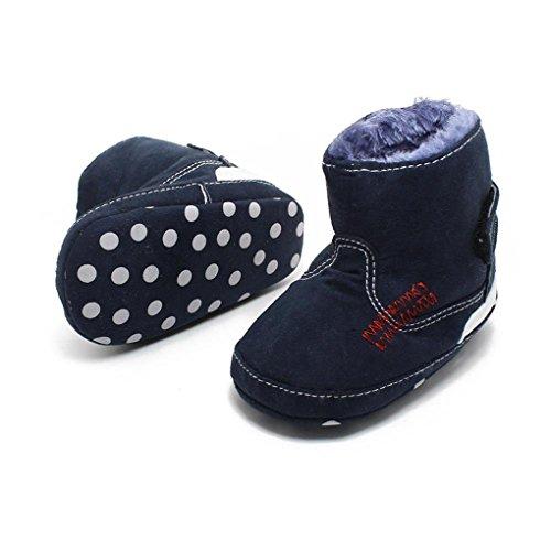 QHGstore Stiefel Baby-weiche warme Winterfell Infant Unisex Fleece Kinderschuhe 11cm Dunkelblau