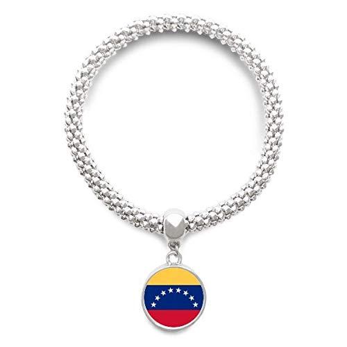 Haoda Damen Venezuela National Flagge Südamerika Land Sliver Armband Laufende Anhänger Schmuck-Kette (Land Und Ihre Nationalen Kostüm)
