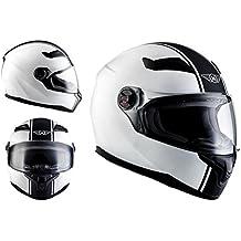 MOTO X86 Racing Matt White · Cruiser Urban Casco Integrale Scooter Urbano Moto motocicleta Fullface-Helmet Sport · ECE certificado · visera incluido · incluyendo bolsa de casco · Blanco · M (57-58cm)