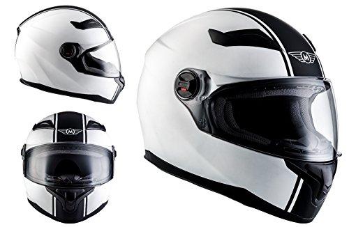 MOTO X86 Racing Matt White · Cruiser Moto Urbano Urban Casco Integrale Scooter Sport Helmet · ECE certificato · compresi visiera · compresi Sacchetto portacasco · Bianca · M (57-58cm)