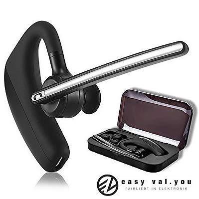 Bluetooth Headset mit Mikrofon für Telefon easy valyou│Auto LKW Business Büro Telefonieren Skype 4.1 KFZ Bloothooth iPhone 5s SE 6s 7 Plus 8 X XS XR Samsung Galaxy S9 S10 S7 A5 A3 Huawei Mate P10 P20