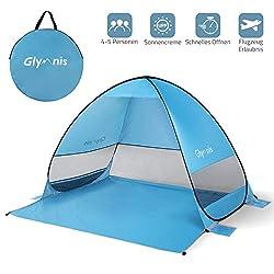 Glymnis Strandmuschel Pop Up Strandzelt mit Einer Abschließbaren Tür UV Schutz 50+ Sonnenschutz für 1-3 Personen Blau (VERPACKUNG MEHRWEG)