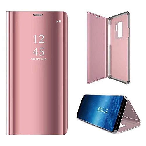 atibel mit Samsung Galaxy Note 4 Spiegel Ledertasche BookStyle Ultra Dünn Überzug Mirror Case Transluzente Fensteransicht Galvanisieren Handyhülle Lederhülle,Rose Gold ()