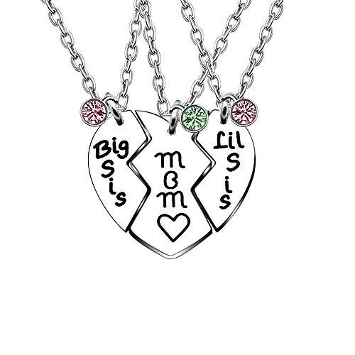 YONGHUI 3 PCS Charm Mutter Big Little Sister Charm Verstellbare Halsketten für Frauen Mädchen Herz Anhänger Familie Halskette Set Schmuck Geschenke Edelstahl Silber -