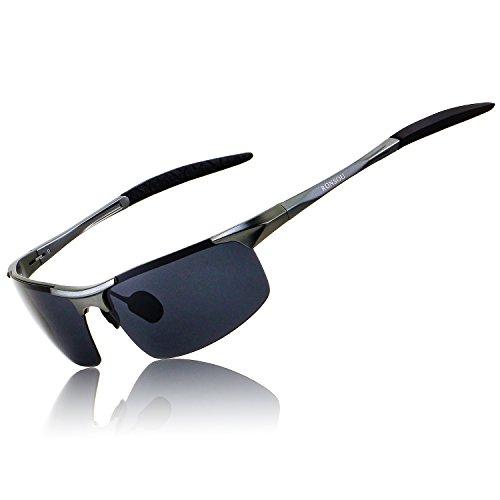 RONSOU Herren Sport Al-Mg Polarisiert Sonnenbrille Unzerbrechlich zum Fahren Radfahren Angeln Golf grau rahmen/grau linse