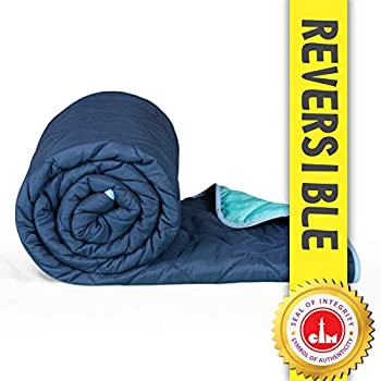Divine Casa Everyday Solid Polyester All Weather Reversible AC Single Comforter - Navy Blue and Sky Blue