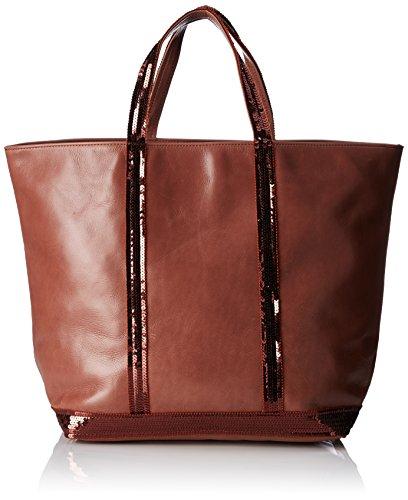 Vanessa Bruno Femme Cabas medium + -cuir et paillettes, Rouge, 18x50x34 cm (W x H x L)