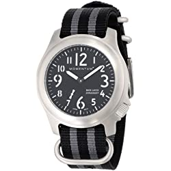 Momentum Base Layer Men's Quartz Watch with Black Dial Analogue Display and Grey Nylon Strap 1M-SP76B7S