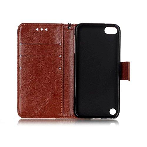iPhone Case Cover Premium Synthetik PU-Leder Etui Schmetterlings-Blumen-Prägung Fall mit Wallet und Ständer für den iPod Touch5 6 ( Color : Brown , Size : IPod Touch5 6 ) Brown