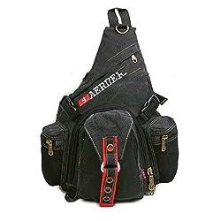 Men's Canvas Travel Motorcycle Backpack Messenger Shoulder Strap Chest Bag Black Gray