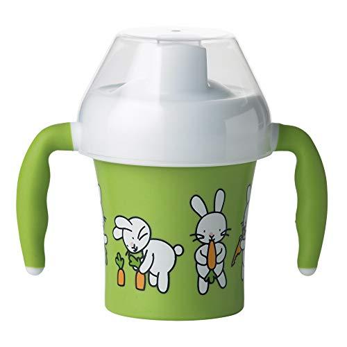 Emsa 509091 Trinklernbecher für Kleinkinder, 0.2 Liter, Soft-Touch Griffe, Grün, Farm Family