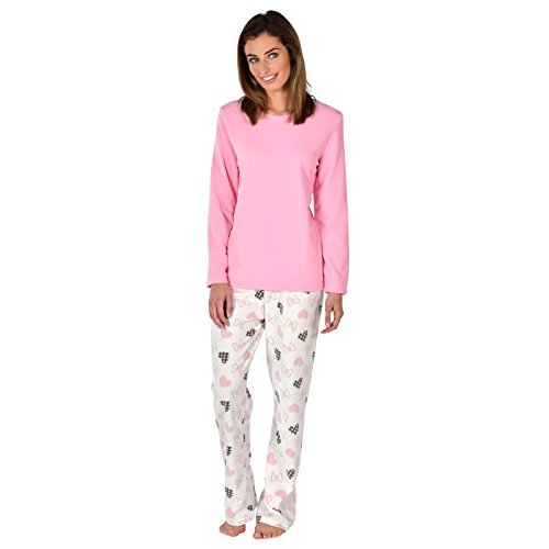 Damen Rosa Herzen Fleece Pyjama PJ Oberteil & Hose Nachtwäsche Set - M (Herz-fleece Pyjama-hosen)