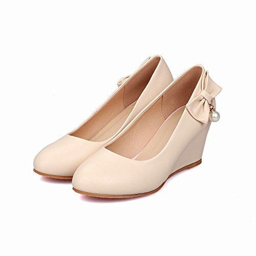 41babf88485c Mee Shoes Damen modern bequem Keilabsatz runder toe Geschlossen mit  Schleife Pumps Aprikose ...