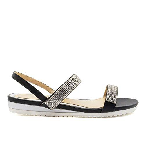 London Footwear ,  Damen Durchgängies Plateau Sandalen Schwarz
