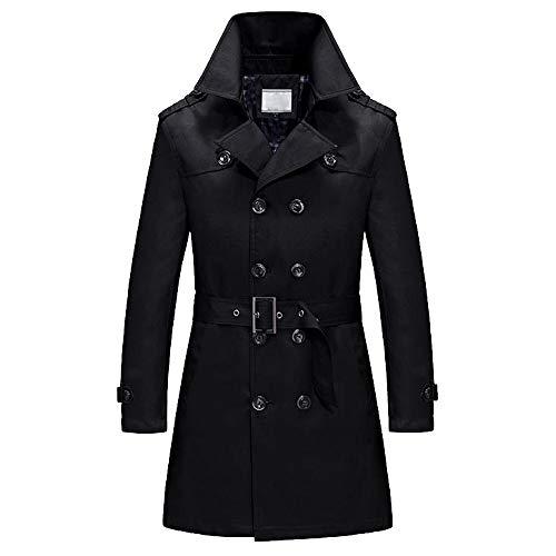 Plot Trenchcoat für Herren - Kurzer Zweireiher Mantel mit Gürtel - Übergangsmantel elegant mit Eingriffstachen - Trench Coat mit Knöpfen, Mäntel Jacken Windbreaker - Trench-gürtel