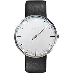 Botta Diseño Uno aniversario Edition Reloj de pulsera–einzeiger Reloj, titanio, perlweißes Esfera, correa de piel