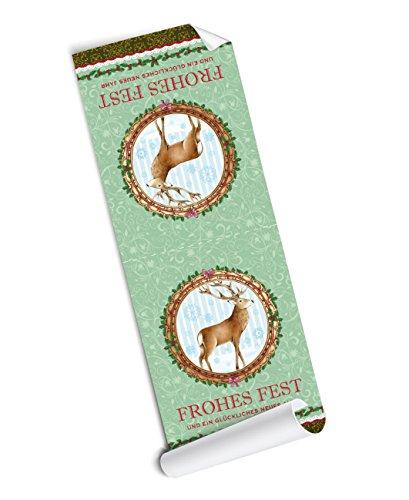 (4 BANDEROLEN GROß: 4 selbstklebende Aufkleber/ Verschlussetiketten in grün mit Hirsch für Adventskalender / Weihnachtsgeschenke •