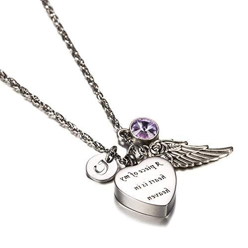 Beydodo Urne Anhänger Herz Kette Edelstahl Flügel mit Geburtsstein Juli Buchstabe Y Silber Halskette Ascheschmuck für Gedenk