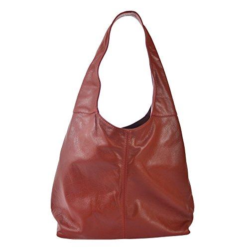 CTM Sac d'épaule de la femme en cuir véritable made in Italy D6170 - 41x55x12 Cm