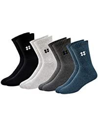 ARKYLE Men's Patterned Cotton Socks (Pack of 4)