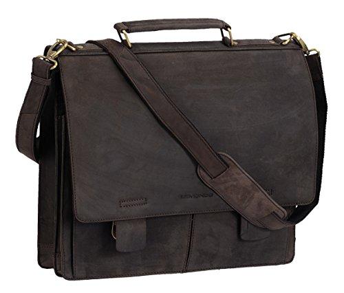 Briefcase AVANCO, Vera Pelle, 41x34x13cm Marrone