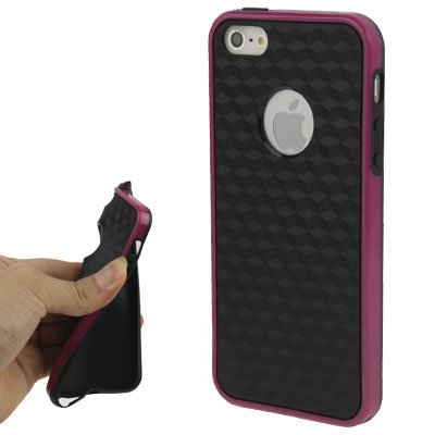 IPhone 5/5S coque de protection en silicone-noir/violet en «carbone-style «ausschnit pour le logo apple -original tHESMARTGUARD- uniquement