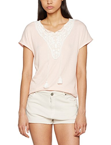 VERO MODA Damen T-Shirt Vmmatea My Ss Top Jrs Rosa (Peach Whip Detail:SNOW WHITE LACE AND STRING)