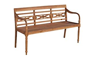 CLP Teakholz-Gartenbank Maryland V2 mit Lehne I Holzbank für den Garten I Sitzbank mit Armlehnen I In verschiedenen Größen wählbar 120x54 cm