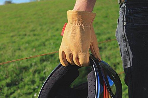 Guantes de Cuero Vintage para Moto con Kevlar Amarillo Mostaza † THROTTLESNAKE - GLOVE TROTTER † Mustard Yellow Old School Motorcycle Leather & Kevlar Gloves (XL)