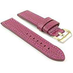 DASSARI Baron Textured Grain Purple Leather Watch Strap Band w/ PVD Yellow Gold Buckle 26mm