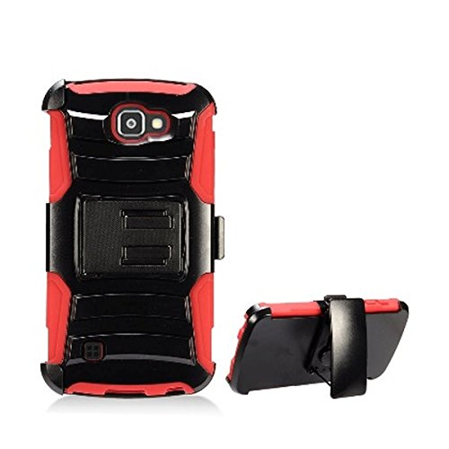 MPERO LG K3 / LS450 Belt Clip Holster Case, Heavy Duty Dual Layer Cover with Kickstand and Locking Clip, Red