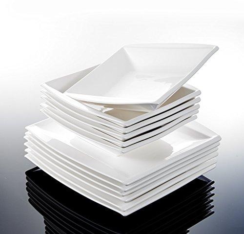 Malacasa, Serie Blance, Cremeweiß Porzellan Tafelservice 24 Teiligen Set Kombiservice Geschirrset mit je 12 Speiseteller und 12 Suppenteller für 12 Personen