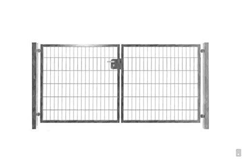 Hochwertiges 2-flügeliges Tor Verzinkt / Einbaubreite 300cm x Einbauhöhe 143cm / 2-flügelig Verzinkt Tor Hoftor Doppeltor Gartentor