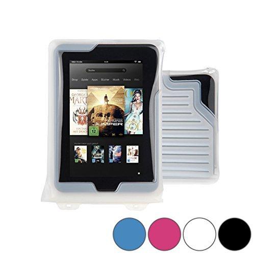 DiCAPac WP-T7 Universelle, wasserdichte Hülle für Barnes & Noble Nook Color / HD / Tablet in Weiß (Doppel-Klettverschluss, IPX8-Zertifizierung zum Schutz vor Wasser bis 5m Tiefe; integriertes Luftkissen treibt auf dem Wasser & schützt das Gerät; extraklare Polycarbonat-Fotolinse; inklusive Trageriemen) Barnes And Noble Nook Tablet Case