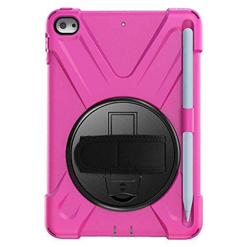 Robuste Schutzhülle für iPad Mini 5, stoßfest, Silikon, Ständer, Bleistifthalter, Schulterriemen hot pink hot pink