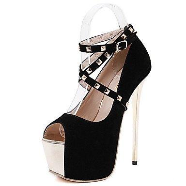 Moda Donna Sandali Sexy Donna Stivali Autunno / Inverno / Piattaforma di pelle Comfort Party & sera abito / Stiletto Heel Tacco di cristallo / Zipper nero / rosso altri Black