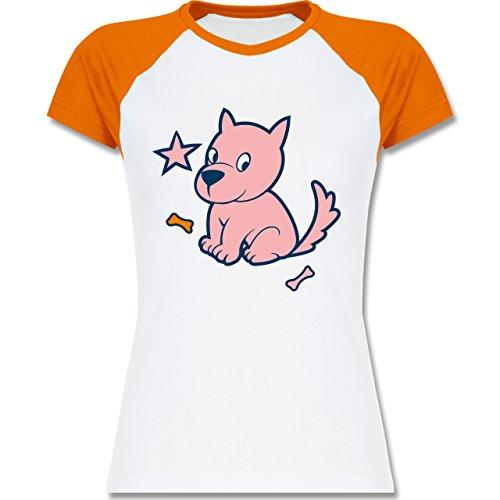 Shirtracer Hunde - Hund - XXL - Weiß/Orange - L195 - zweifarbiges Baseballshirt/Raglan T-Shirt für Damen