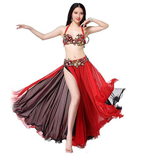 Huaishu Women es Belly Dance Costume Adult New Fairy Dress Long Rock Suit Ladies Red Performance Clothing,Red,L