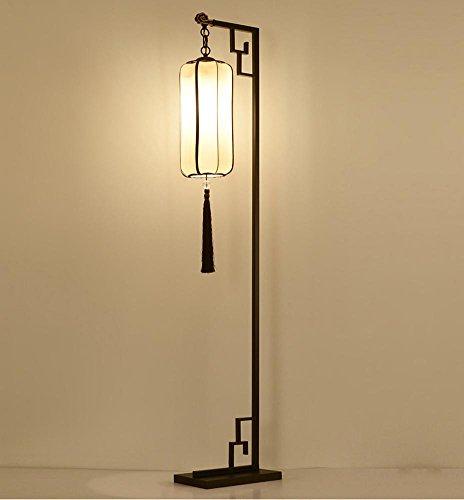Japanisch Orientalisch Stoff (Moderner Orient einfache Eisenstehlampe mit Stoff Laterne Lampenschirm für Wohnzimmer Arbeitszimmer Schlafzimmer)