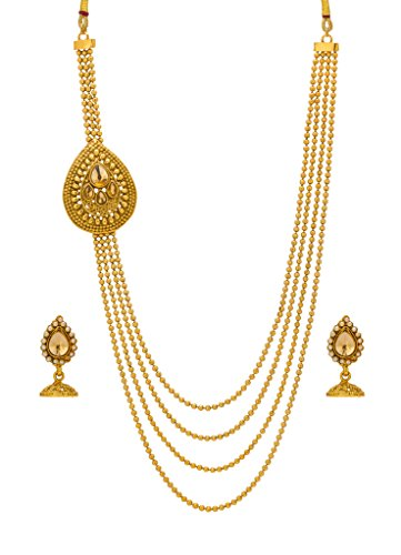Bindhani® Traditional Multi-Strand Long Rani Har (Haar) Golden Necklace Jhumki Earrings Set For Women  available at amazon for Rs.443